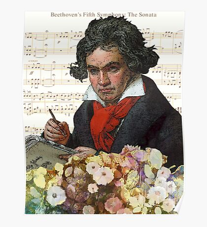 Ludwig von Beethoven Grunged III Poster