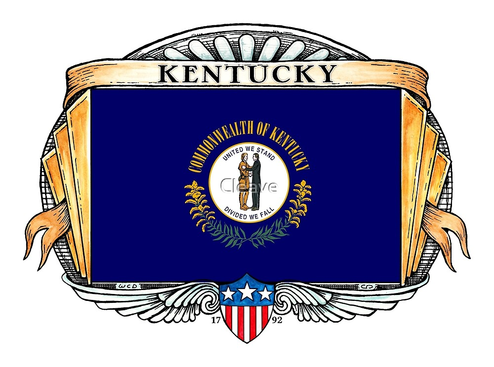 Kentucky Art Deco Design with Flag by Cleave