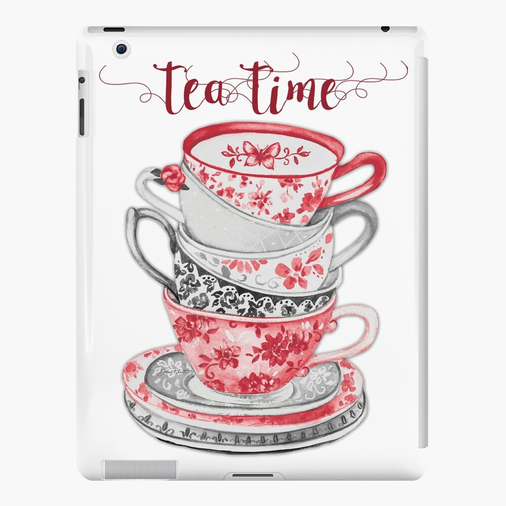 Tiempo de té de acuarela Teacups gris y rojo Funda y vinilo para iPad