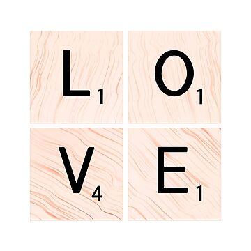LOVE Scrabble Tiles on Custom Vector Wood Background by EKartPrints
