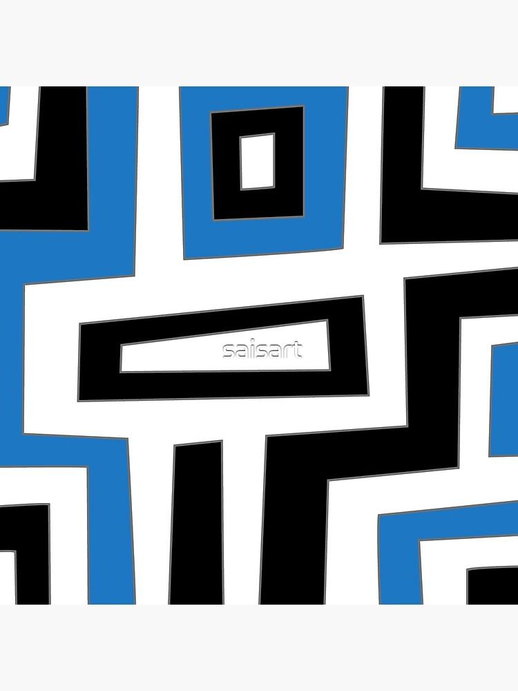 Blue white black geometric pattern von saisart