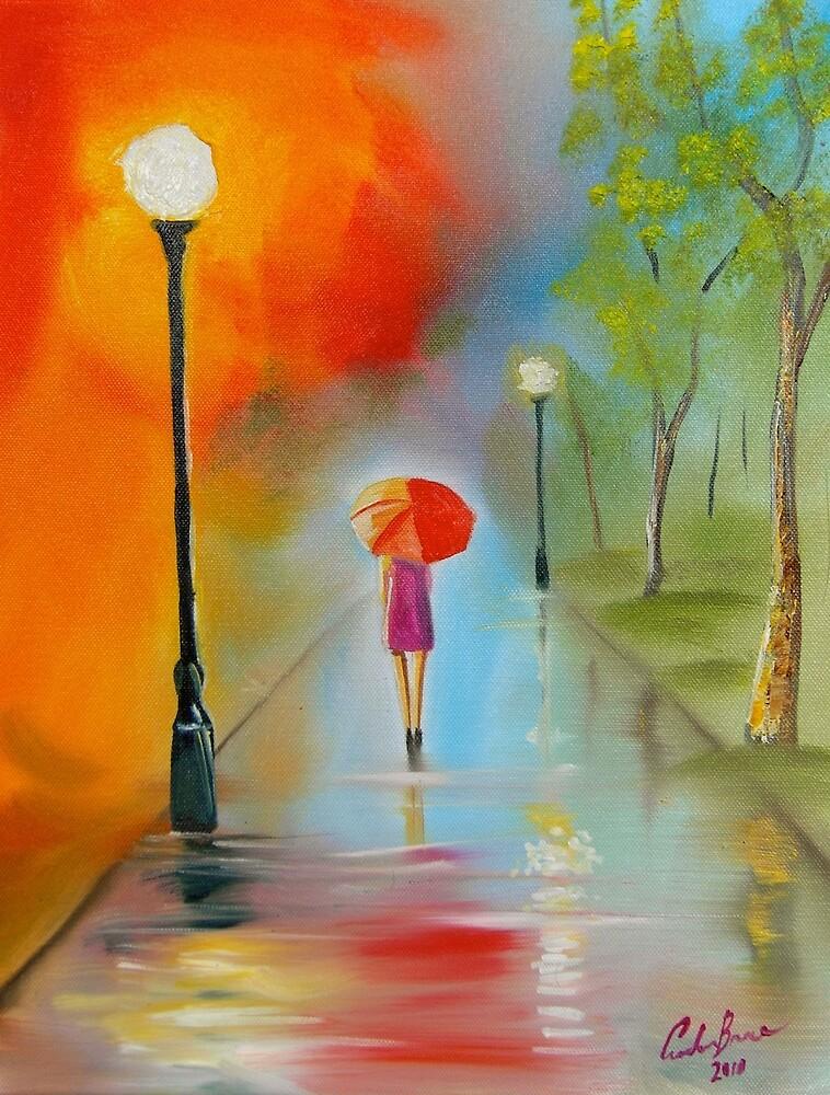 RED UMBRELLA PAINTING by GORDON BRUCE ART