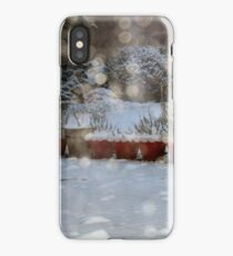 Snowy flower pots iPhone Case/Skin