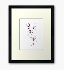 Branch of blooming purple magnolia flowers Japanese Zen Sumi-e painting on white art print Framed Print