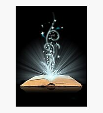 Open book magic on black Photographic Print