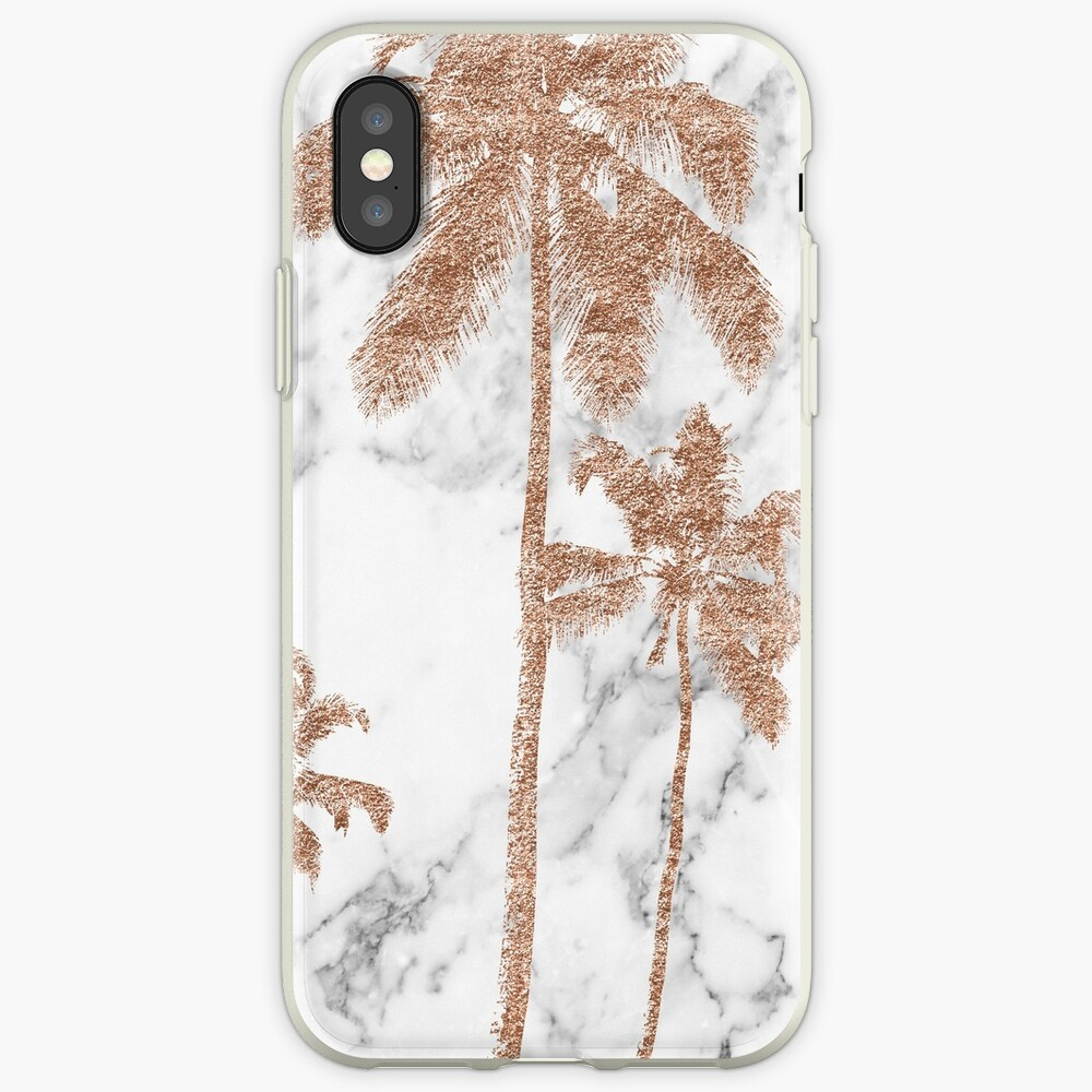 Rose Gold Marmor Palmen iPhone-Hülle & Cover