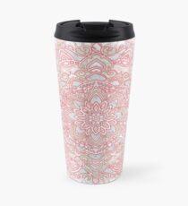 White snowflake rose mandala Travel Mug