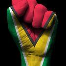 Flagge von Guyana auf einer angehobenen geballten Faust von jeff bartels
