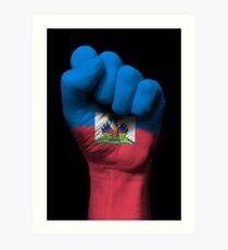 Flag of Haiti on a Raised Clenched Fist  Art Print