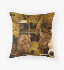 Cuddly Toys Behind Bars Throw Pillow