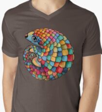 Rainbow Pangolin Men's V-Neck T-Shirt