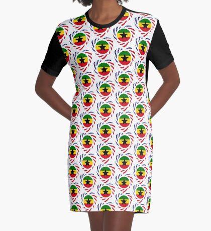 Ghanaian American Multinational Patriot Flag Series Graphic T-Shirt Dress