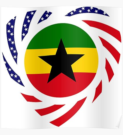 Ghanaian American Multinational Patriot Flag Series Poster