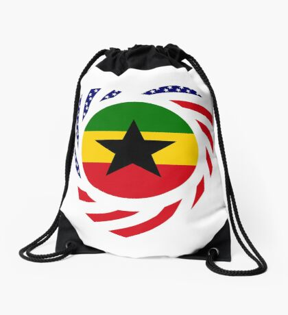 Ghanaian American Multinational Patriot Flag Series Drawstring Bag