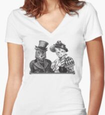 The Owl and the Pussycat | Black and White Women's Fitted V-Neck T-Shirt