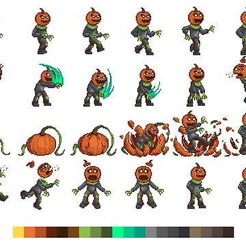 Pixel Pumpkin Head by Rumblecade