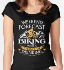 Weekend Forecast Biking With A Chance Of Drinking Women's Fitted Scoop T-Shirt