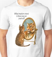 Cat and Tiger Mirror Message Unisex T-Shirt