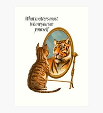 Lámina artística Mensaje de espejo de gato y tigre