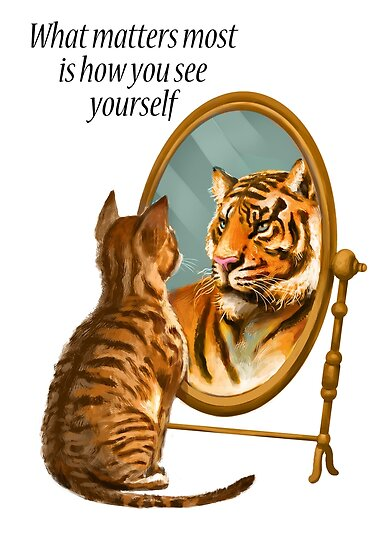 Quot Cat And Tiger Mirror Message Quot Poster By Hazynz Redbubble