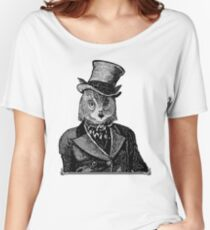 Owl Portrait | Black and White | No.1 of 2 from The Owl and the Pussycat Set Women's Relaxed Fit T-Shirt