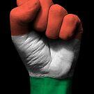 Flagge von Ungarn auf einer angehobenen geballten Faust von jeff bartels