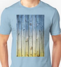 Blue yellow toned boards texture Unisex T-Shirt