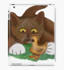 Duckling and Brown Tuxedo Kitten iPad Case/Skin