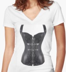 futurism, victorian style, victorian style art, bondage, steampunk bondage Women's Fitted V-Neck T-Shirt