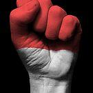 Flagge von Indonesien auf einer angehobenen geballten Faust von jeff bartels