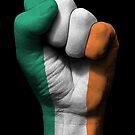 Flagge von Irland auf einer angehobenen geballten Faust von jeff bartels