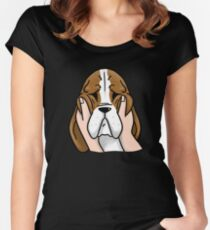 Funny Chubby Cheeks Basset Hound Women's Fitted Scoop T-Shirt