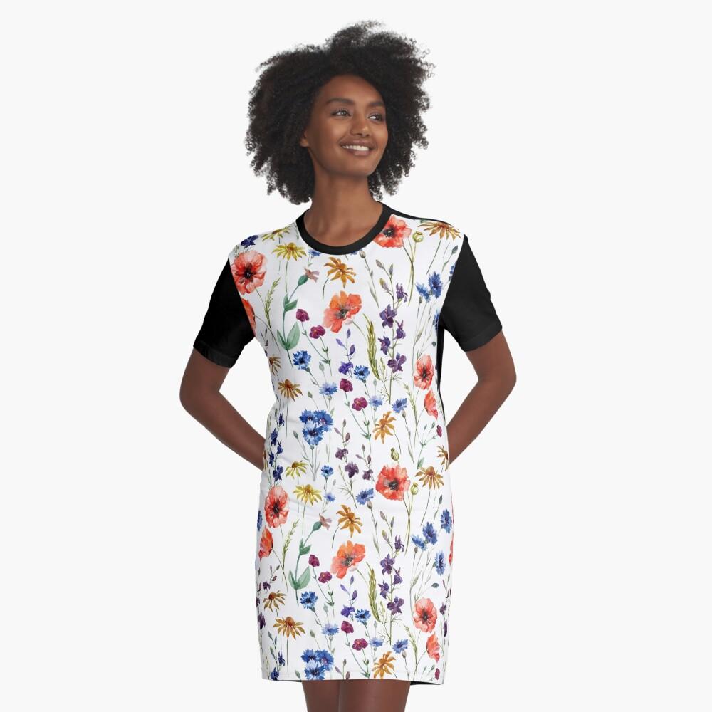 Wildflowers Pattern Graphic T-Shirt Dress