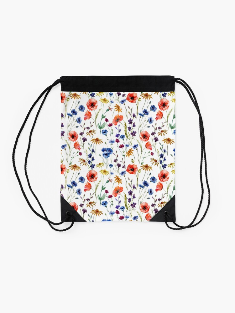 Alternate view of Wildflowers Pattern Drawstring Bag