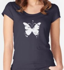 Butterfly silhouette grunge Women's Fitted Scoop T-Shirt