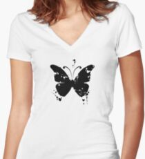 Butterfly silhouette grunge Women's Fitted V-Neck T-Shirt