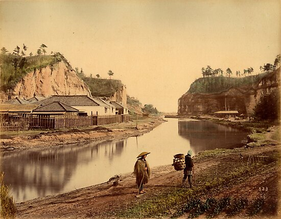 Horiwarikawa canal, Yokohama, Japan, 1880s by Fletchsan