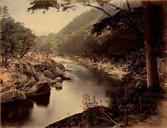 View of Kakehashi, Kosogawa river on the Nakasendo, Japan by Fletchsan