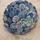 Something Blue: ButtonBelleBridal Bouquet by CreativeEm