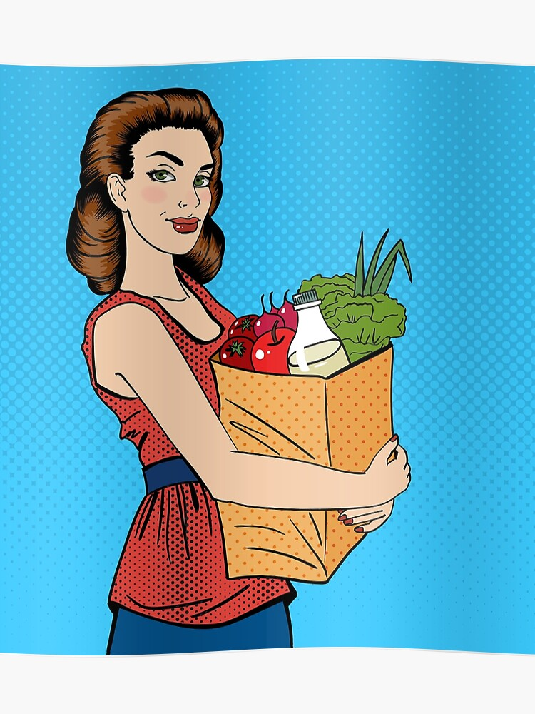 Woman with Shopping Bag  Girl with Groceries Healthy Food  Pop Art  | Poster
