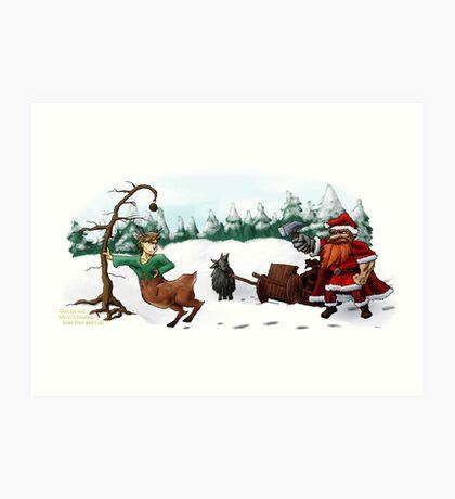 God Jul and Merry Christmas from Thor and Loki Art Print