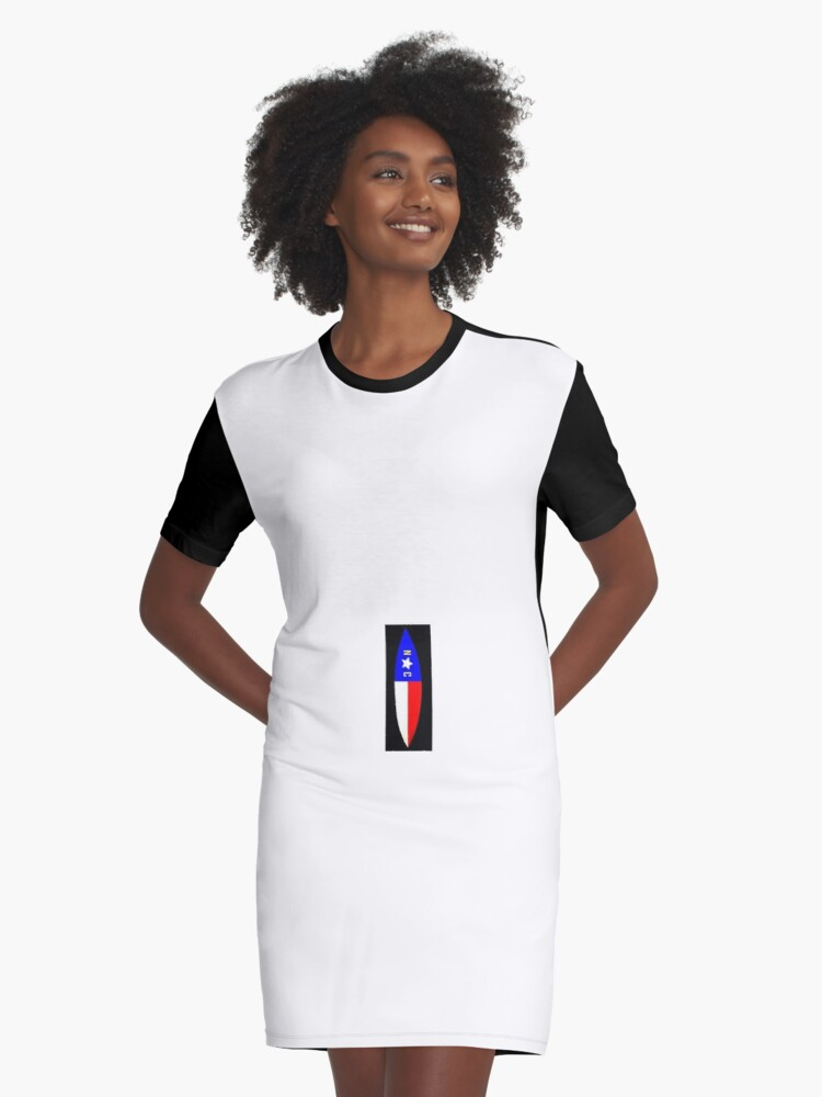 NC Surfboard Graphic T-Shirt Dress Front