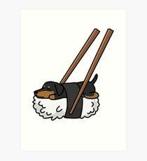 Funny Sushi Dachshund Art Print