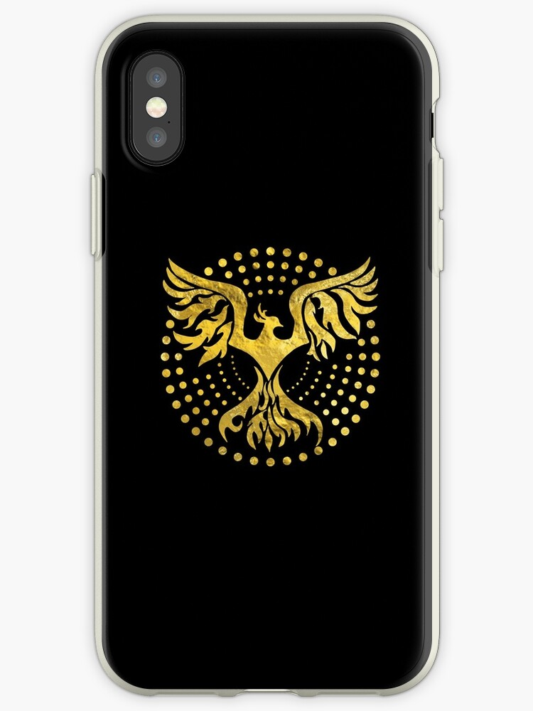 Gold Decorated Phoenix Bird Symbol Iphone Cases Covers By