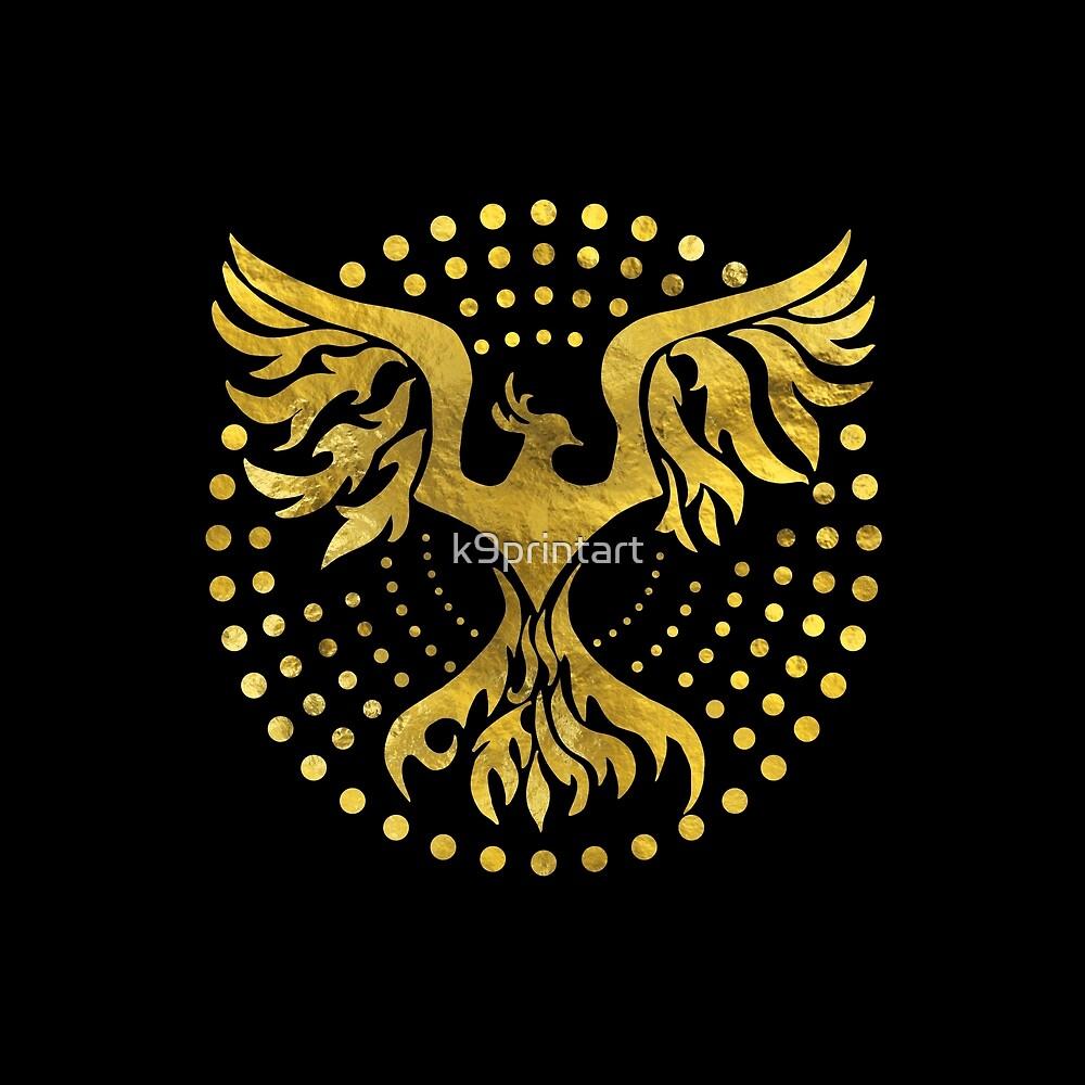 Gold Decorated Phoenix Bird Symbol By K9printart Redbubble