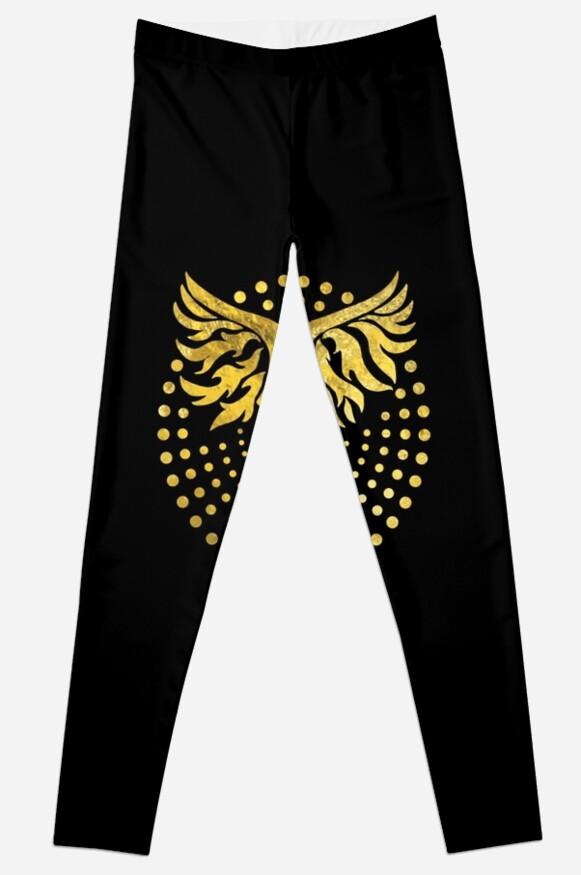 Gold Decorated Phoenix Bird Symbol Leggings By K9printart Redbubble