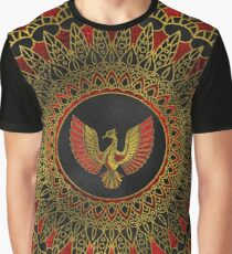 Gold and red Decorated Phoenix bird symbol Graphic T-Shirt
