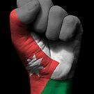 Flagge von Jordanien auf einer angehobenen geballten Faust von jeff bartels