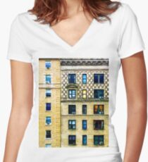 New York City Apartment Building Women's Fitted V-Neck T-Shirt