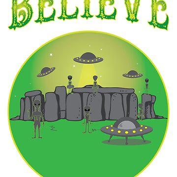 Alien Believe Aliens Built the Ancient Landmarks by teashorts